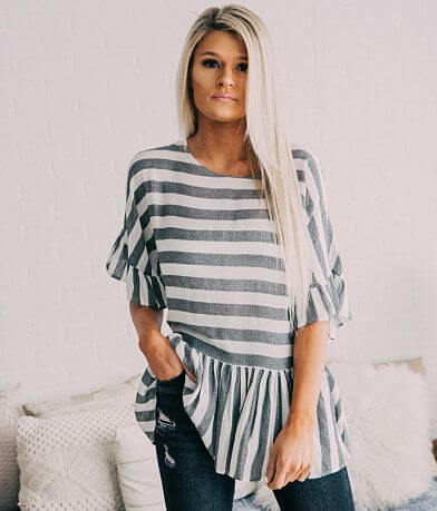 Fantastic Fawn Striped Ruffle Top