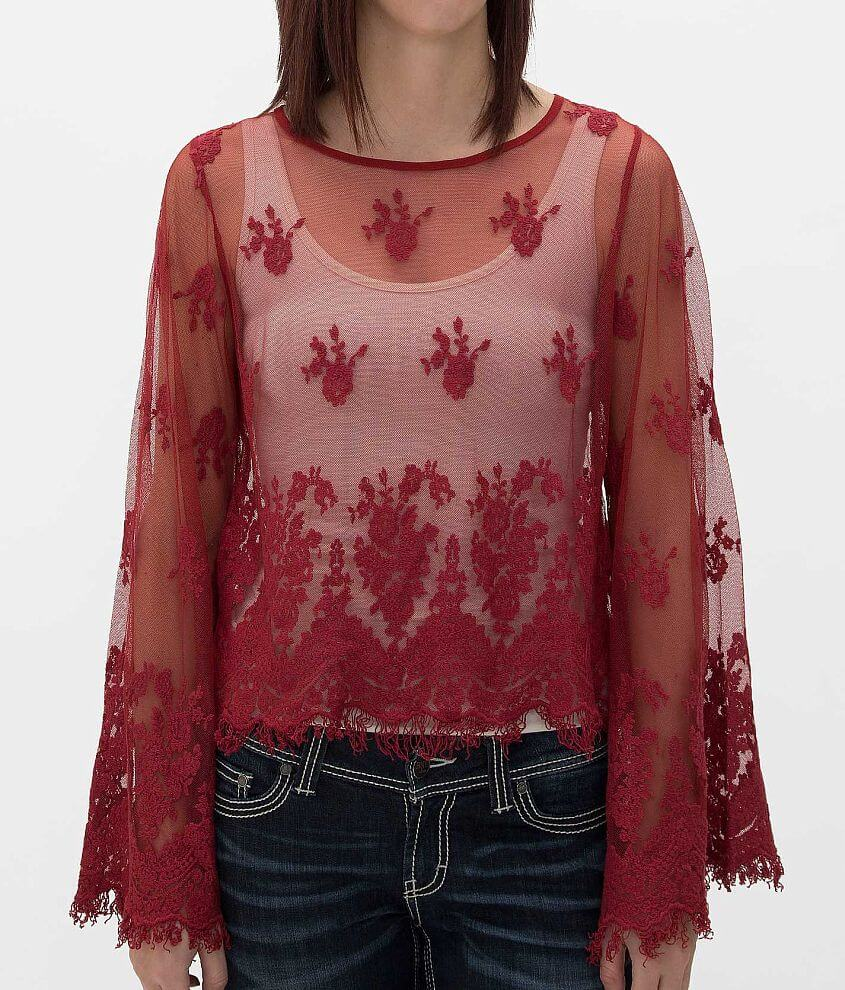 Daytrip Embroidered Mesh Shirt front view