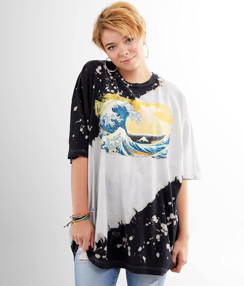 Bleach Wash Oversized T-Shirt - One Size front view