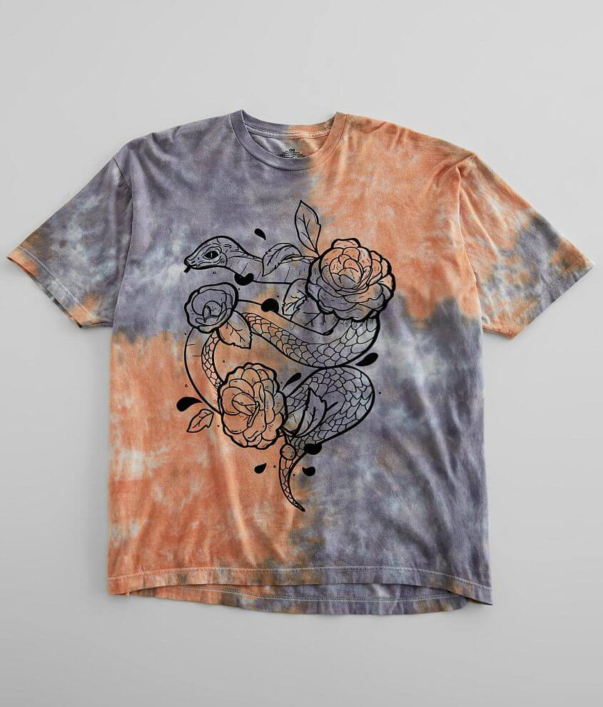 Snake & Floral T-Shirt - One Size front view