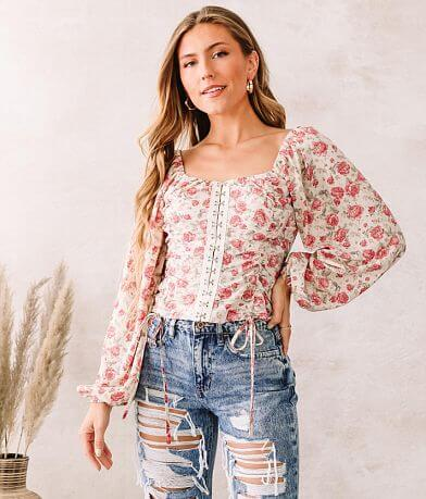 Willow & Root Vintage Floral Chiffon Top