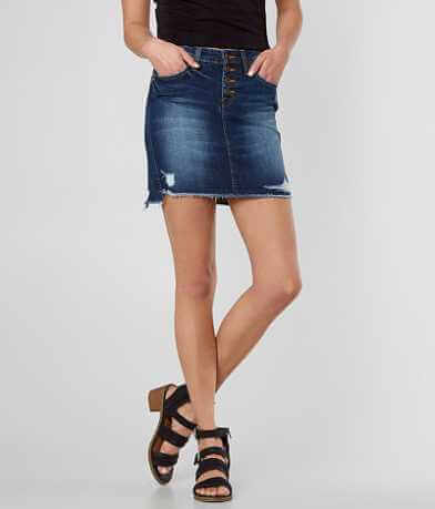 Flying Monkey Mid-Rise Denim Stretch Skirt
