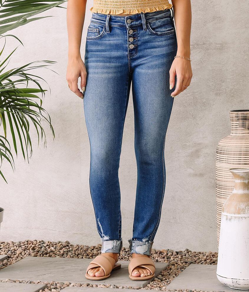 Flying Monkey Mid-Rise Cuffed Ankle Skinny Jean front view