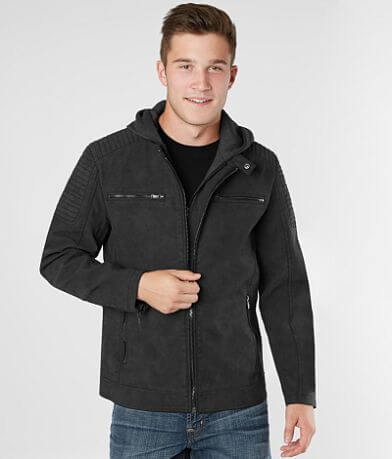PX Faux Leather Hooded Jacket