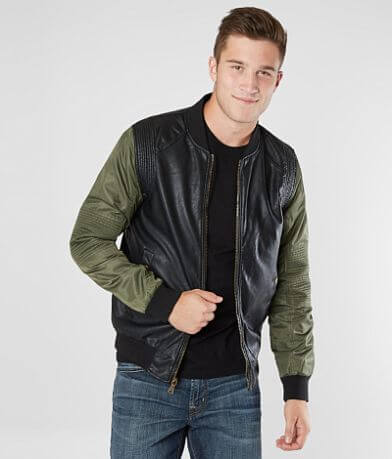PX Color Block Faux Leather Bomber Jacket