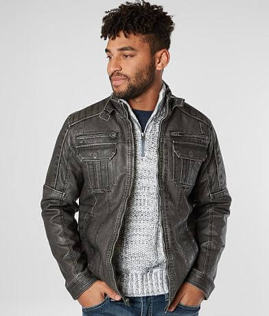 Buckle Black Washed Faux Leather Jacket