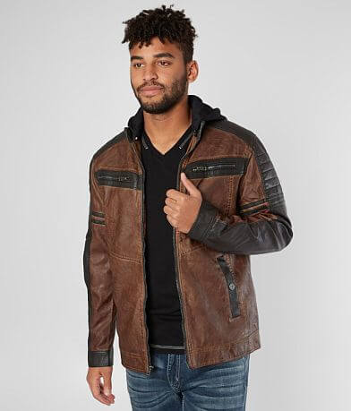 Buckle Black Distressed Faux Leather Jacket
