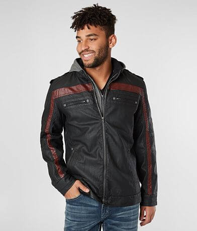 Buckle Black Perforated Faux Leather Jacket