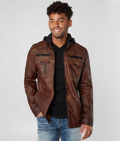 Buckle Black Washed Faux Leather Jacket