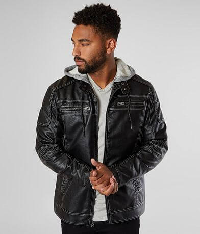 Buckle Black Textured Faux Leather 2Fer Jacket