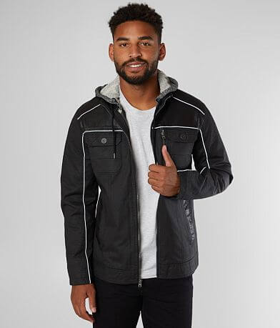 Buckle Black Faux Leather Canvas 2Fer Jacket