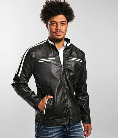 Buckle Black Pieced Faux Leather Moto Jacket