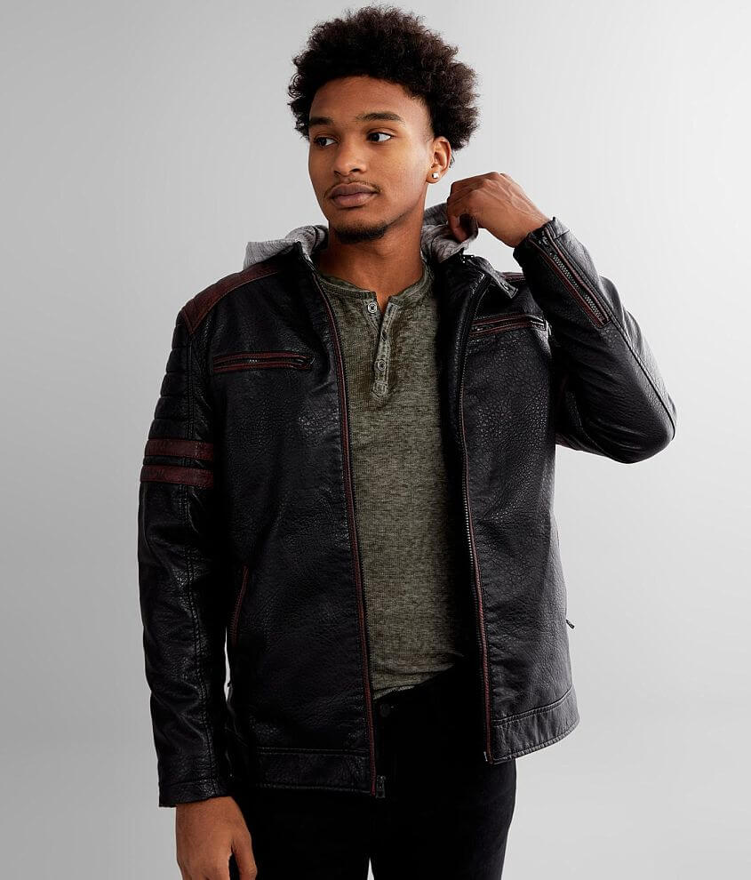 Buckle Black Moto Faux Leather Jacket front view