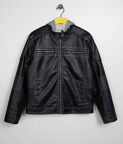 Boys - Buckle Black Faux Leather 2Fer Jacket