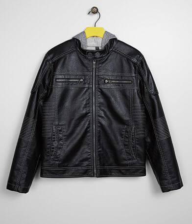 Boys - Buckle Black Faux Leather 2Fer Jacket