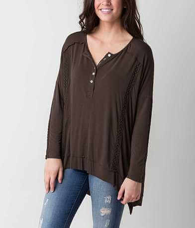 POL Raw Edge Henley Top