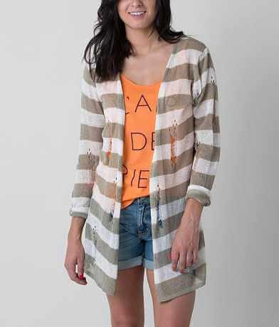 POL Striped Cardigan Sweater
