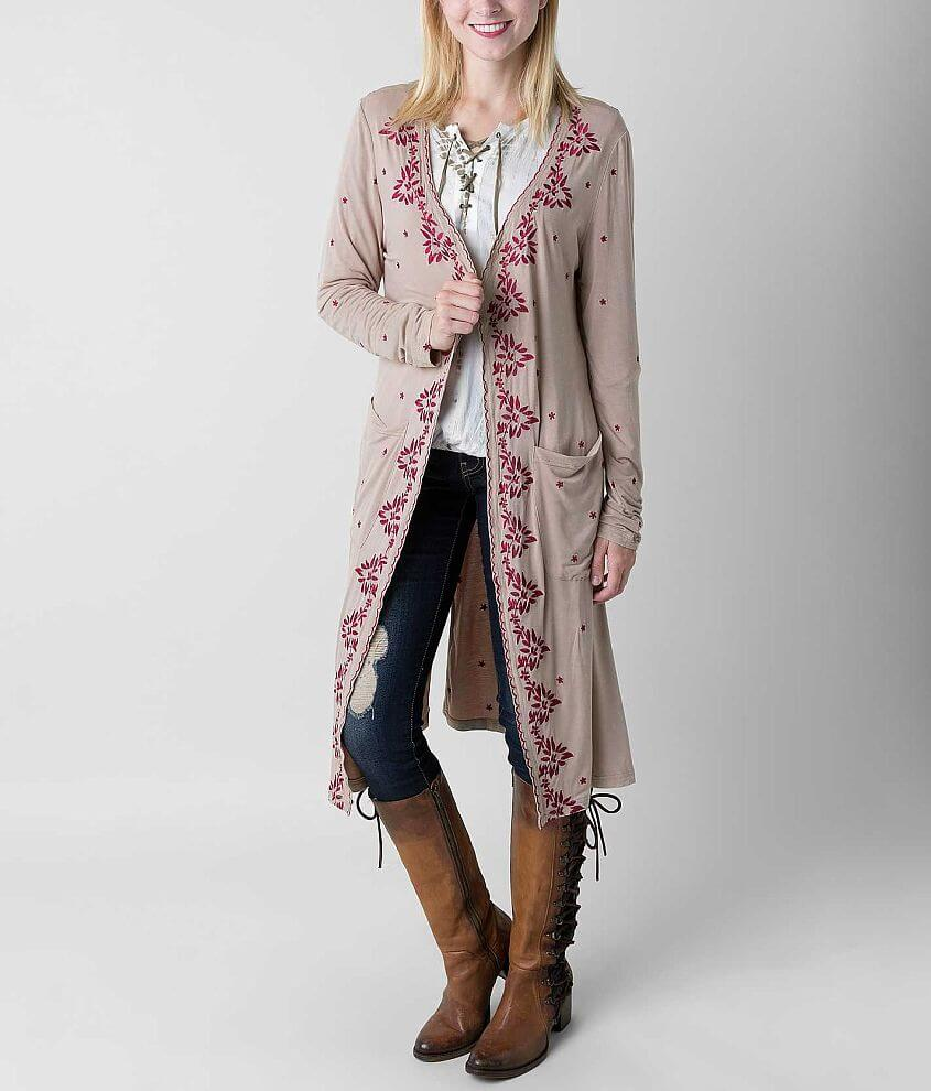 POL Embroidered Duster Cardigan front view