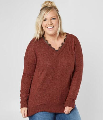 Poof Brushed Marl Top - Plus Size Only