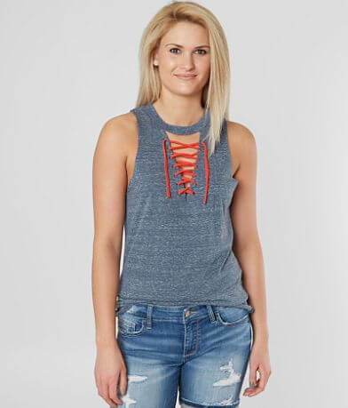 BKE Lace-Up Tank Top