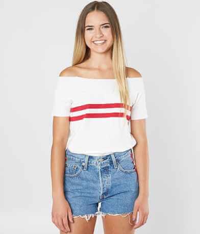 FITZ + EDDI Striped Off The Shoulder T-Shirt