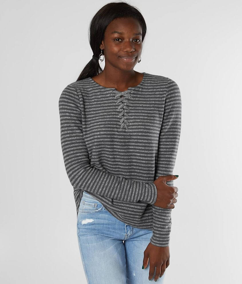 BKE Brushed Hacci Striped Top front view