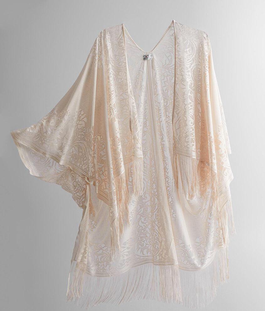 Poof Lace Fringe Kimono front view
