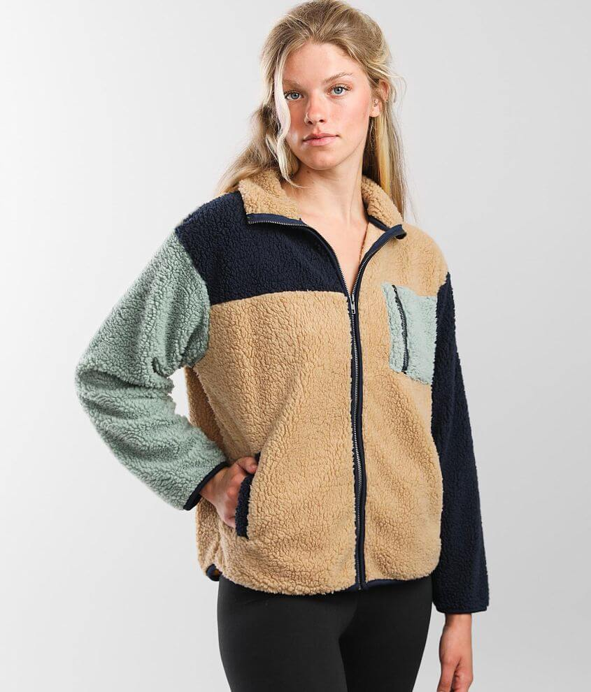 BKE core Color Block Sherpa Jacket front view