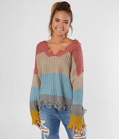 Poof Striped V-Neck Cropped Sweater
