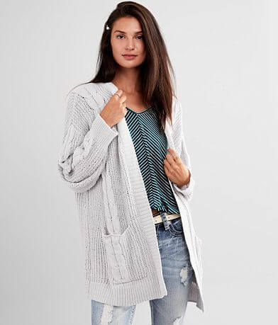 Poof Matte Chenille Cable Knit Cardigan Sweater