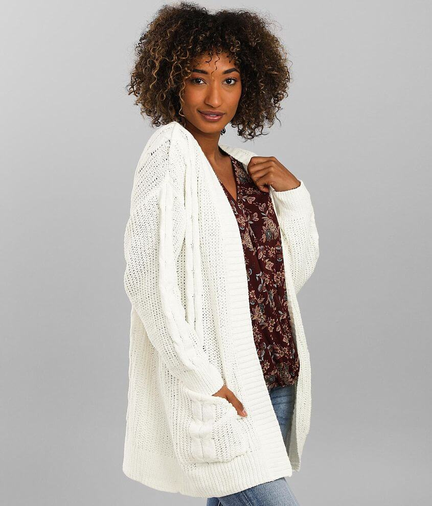 Poof Matte Chenille Cardigan Sweater front view