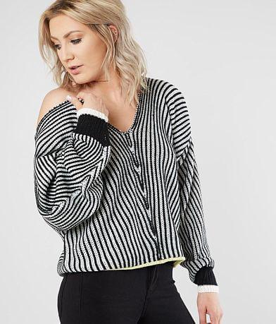 Daytrip Double V-Neck Striped Sweater