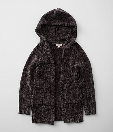 Girls - Poof Chenille Hooded Cardigan Sweater