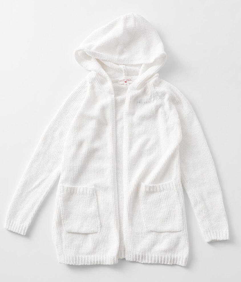 Girls - Poof Chenille Hooded Cardigan Sweater front view