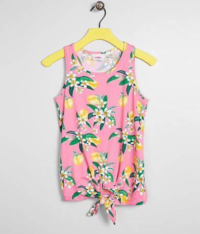 Girls - Daytrip Lemon Floral Front Tie Tank Top