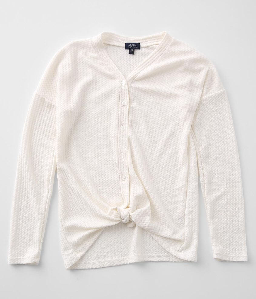 Girls - Daytrip Waffle Knit Front Tie Top front view