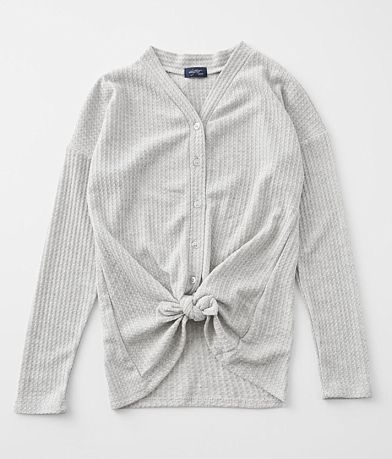 Girls - Daytrip Waffle Knit Front Tie Top
