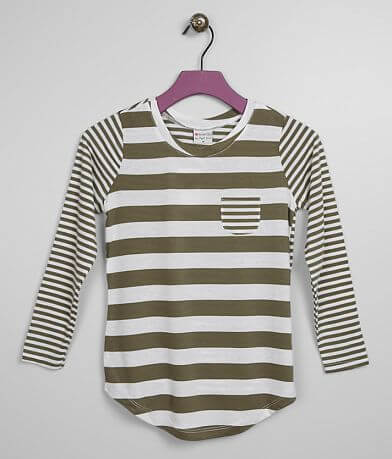 Girls - Poof Striped Pocket Top