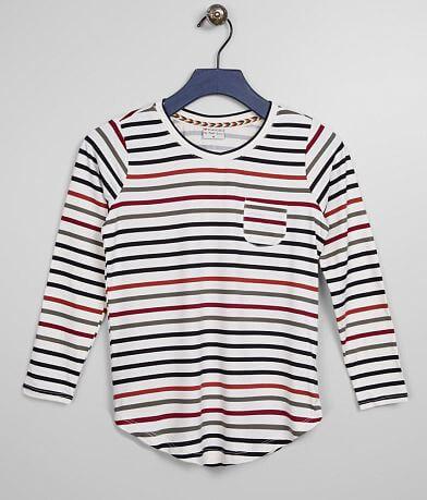 Girls - Poof Striped V-Neck Top
