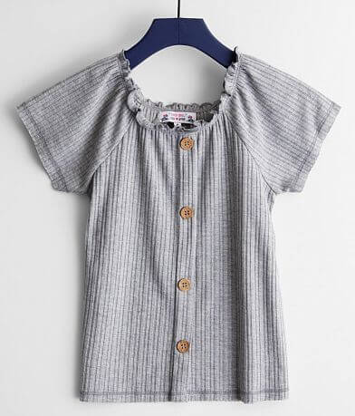 Girls - Poof Faux Button Front Top