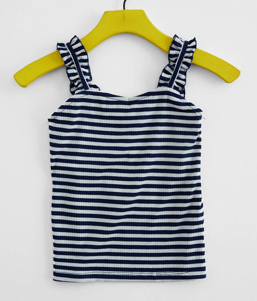 Girls - Poof Striped Ruffle Strap Tank Top front view