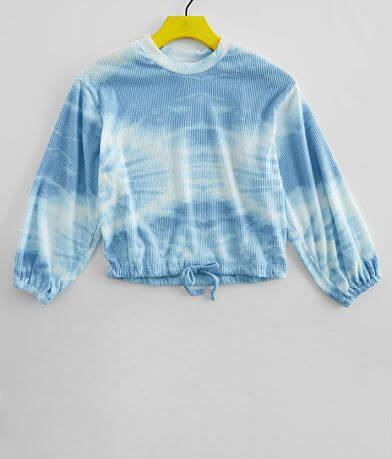 Girls - Poof Mock Neck Tie Dye Top