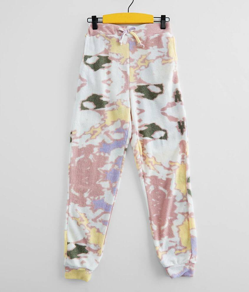 Girls - Poof Tie Dye Brushed Knit Jogger front view