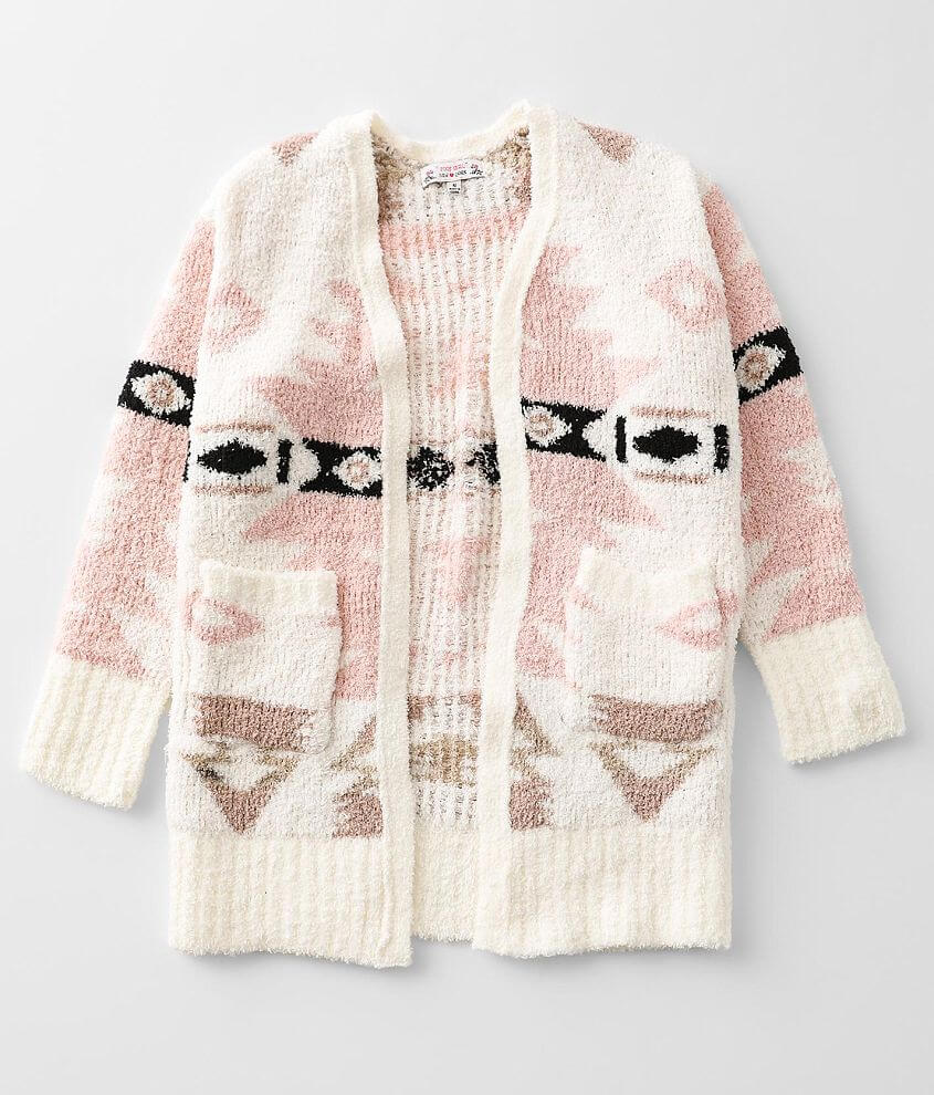 Girls - Poof Chenille Cardigan Sweater front view