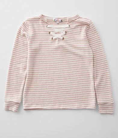 Girls - Poof Brushed Fleece Striped Top