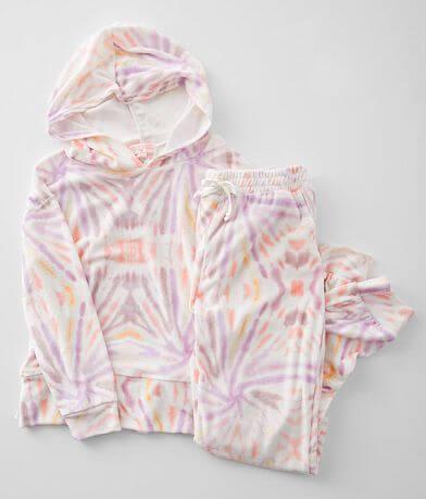 Girls - Poof Velvet Tie Dye 2 Piece Lounge Set