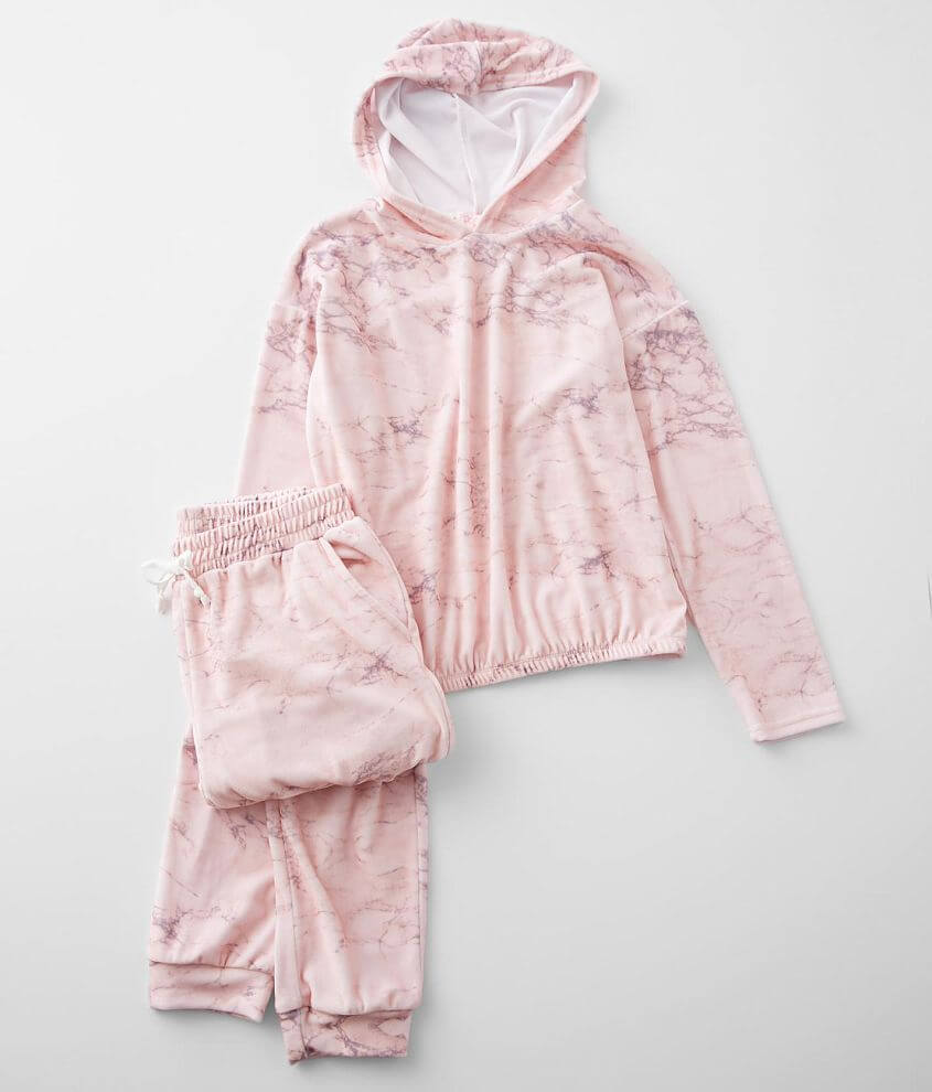 Girls - Poof Marble Velour 2 Piece Lounge Set front view