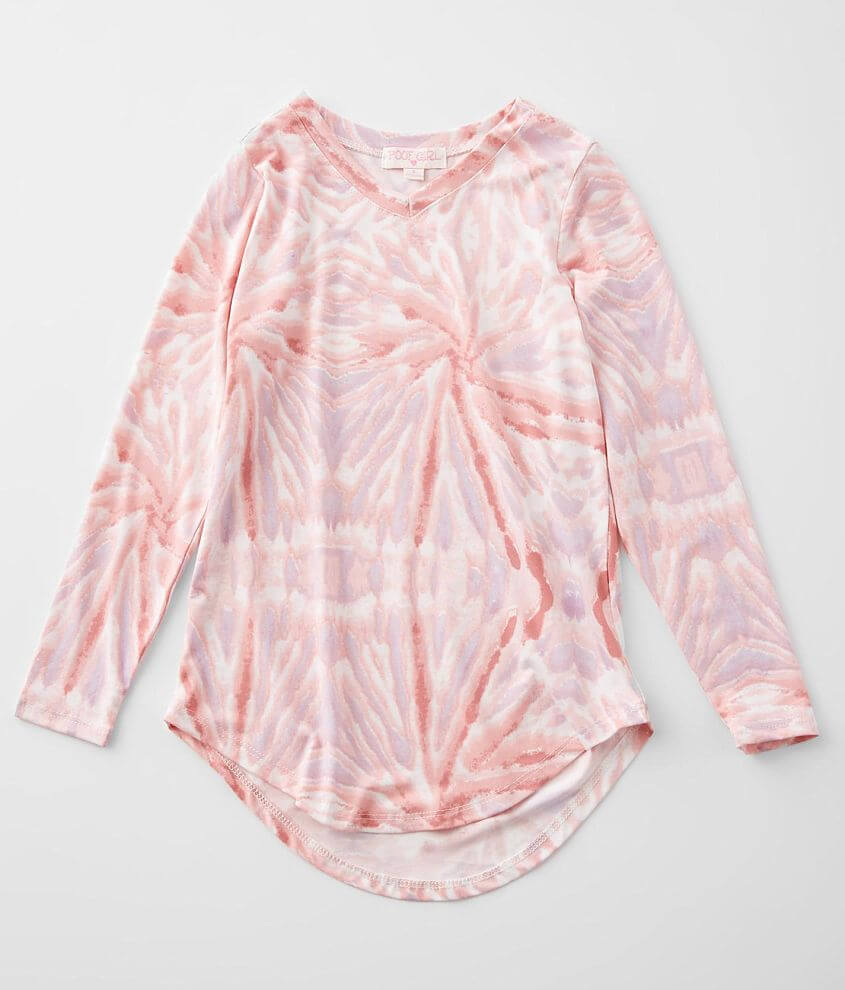 Girls - Poof Tie Dye V-Neck Top front view