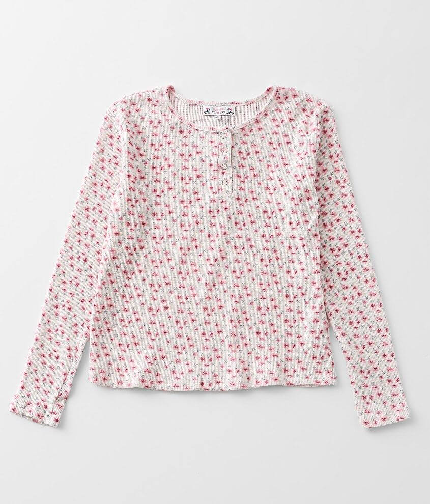 Girls - Poof Floral Thermal Henley front view