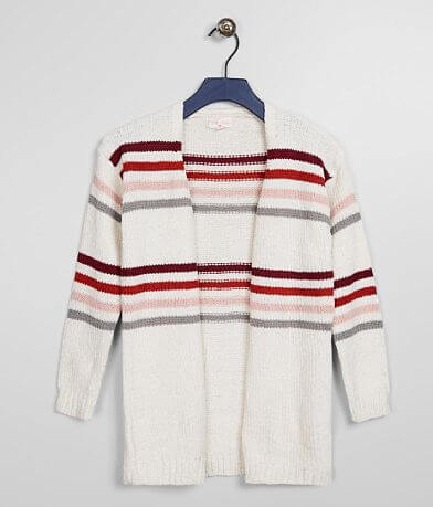 Girls - Poof Chenille Striped Cardigan Sweater